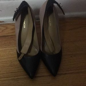 Nude and Black Leather Coach Pumps